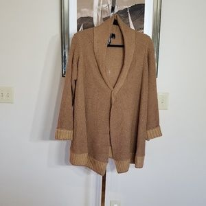 Long Rust Color Open Cardigan Sz Large